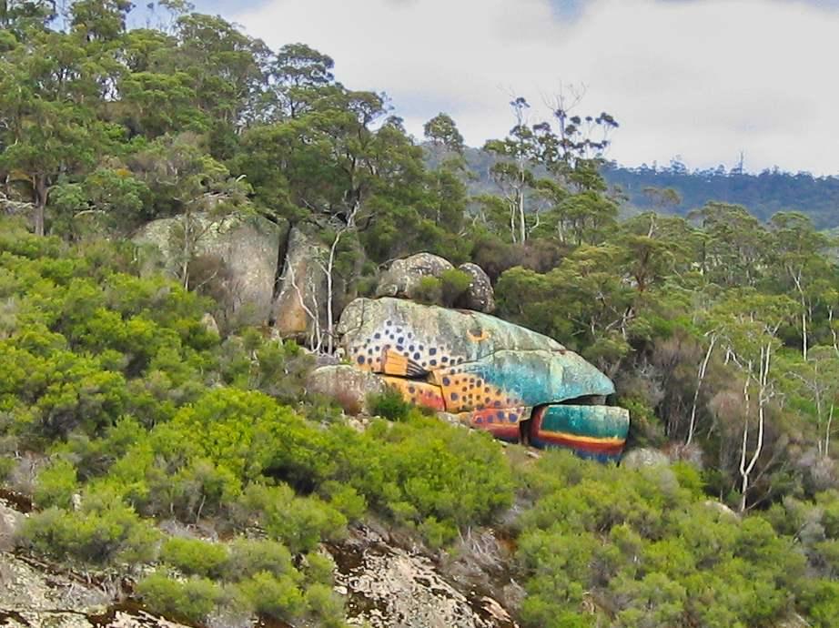 Trout Rock Art near Derby in Tasmania